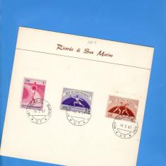 CARTON FILATELIC SAN-MARINO 1954 SPORT atletism box scrima, Europa