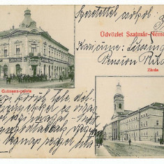 769 - SATU-MARE, store - old postcard - used - 1913, Circulata, Printata
