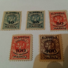 Germania/memel 1923 blazoane/ serie MH, Nestampilat
