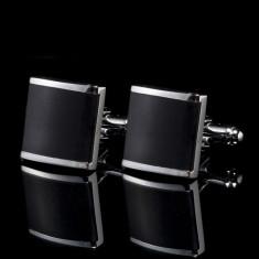 Butoni camasa negri BLACK SQUARE model patrat  + cutie simpla cadou