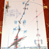 Acasandrei Aurel, lucrare in cerneala,, coloana de acoperis,, 2000 - Pictor roman, Abstract, Suprarealism