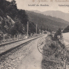 VALEA LARGA PRAHOVA  SALUTARI DIN ROMANIA  CALEA FERATA , TCV , CIRC. IUN.''906, Circulata, Printata