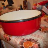 Cratita din tabla cu capac diametrul 30 cm., inaltime 10 cm., rosie, NOUA - oala, cratita