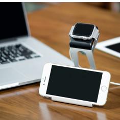 Suport birou Hoco, aluminiu, telefon, tableta iPhone, Samsung Apple Watch, silver