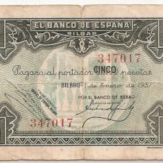 SPANIA BILBAO 5 PESETAS 1937 U - bancnota europa