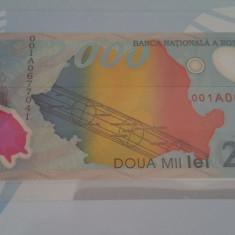 Bancnota 2000 lei aniversara eclipsa 1999 - Bancnota romaneasca