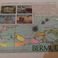 Anglia/colonii/bermuda 1975 harti-corabii/colita MNH - Timbre straine, Nestampilat