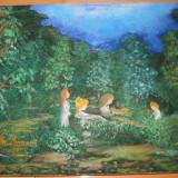 GH. BOANCA - Jocul Ielelor tablou pictura in ulei pe panza arta naiva - Pictor roman, Peisaje, Miniatural