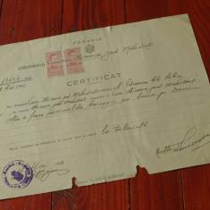 Acte / documente vechi - Certificat anul 1943 Judetul Mehedinti !!! - Pasaport/Document