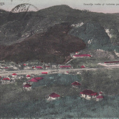 BAILE TELEGA, TEMNITA VECHE SI VEDERE PARTIALA A SATULUI CIRC. AUG.''911 - Carte Postala Muntenia 1904-1918, Circulata, Printata