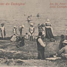 SALUTARI DIN TECHIRGHIOL BAI DE FEMEI DIN LACUL TECHIRGHIOL, CIRCULATA 1911 - Carte Postala Dobrogea 1904-1918, Printata