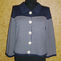 Cardigan Laura Ashley, model vintage, jacheta, culoare bleumarin inchis - Pulover dama, Bumbac