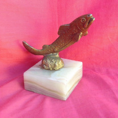 Peste din bronz pe soclu din marmura !!! - Metal/Fonta, Ornamentale