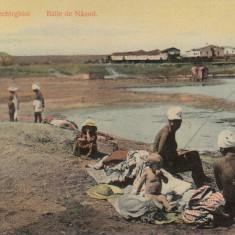 TECHIRGHIOL, SALUTARI DIN TECHIRGHIOL BAILE DE NAMOL CIRCULATA AUG.''910 - Carte Postala Dobrogea 1904-1918, Printata