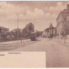 #1726- Romania, Sibiu, Hermannstadt c.p. circulata 1911: Strada Schewis, tram, Fotografie