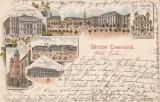 IUDAICA TIMISOARA  SALUTARI  DIN  TIMISOARA  SINAGOGA  LITOGRAFIE CIRCULATA 1899, Printata