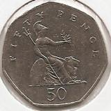 Marea Britanie 50 Pence 2001-Elizabeth II (Britannia) K70, 27.3 mm, KM-991, Europa