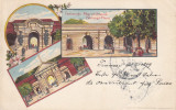TIMISOARA    PORTILE  CETATII   LITOGRAFIE  CIRCULATA  1899, Printata