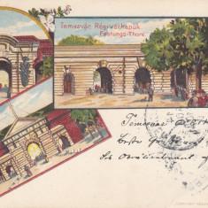 TIMISOARA PORTILE CETATII LITOGRAFIE CIRCULATA 1899 - Carte Postala Banat pana la 1904, Printata