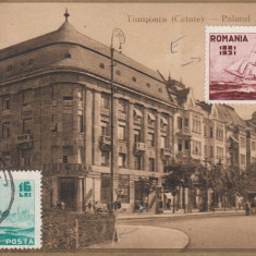 TIMISOARA, PALATUL TIMISIANA, T.C.V., circulata - Carte Postala Banat dupa 1918, Printata