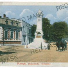 277 - Arges, PITESTI, carriage, monument - old postcard, CENSOR - used - 1918 - Carte Postala Muntenia 1904-1918, Circulata, Printata