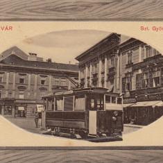 TIMISOARA, PIATA SF. GHEORGHE, TRAMVAI, MAGAZINE - Carte Postala Banat dupa 1918, Circulata, Fotografie