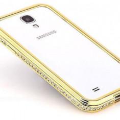 Bumper metal auriu cu cristale Samsung Galaxy S4 i9500 + folie - Bumper Telefon, Negru