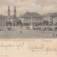 TIMISOARA, PIATA LOSONCZY CU BISERICA SARBEASCA, CIRCULATA OCT.''900 - Carte Postala Banat pana la 1904, Printata