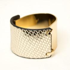 Bratara din metal si piele - Bratara Fashion