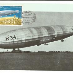 No2)ilustrata maxima-DIRIJABILUL R 34 MAREA BRITANIE-prima zi, Romania de la 1950, An: 1978, Aviatie