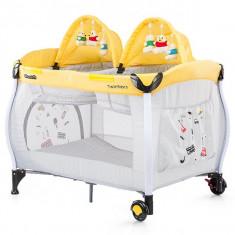 Patut Pliabil Chipolino Twin Stars Lemon - Patut pliant bebelusi, 115X85cm, Galben