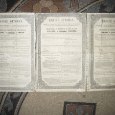 Set 3 Obligatiuni Imperiul Otoman 1870, val. nominala 400 fr.aur -Cai Ferate