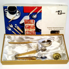 Set lingurita si cleste pentru zahar - placate cu aur - Wirths Bestecke - Argint