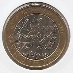 Marea Britanie 2 Pounds 2009 - Robert Burns, K70, 28.4 mm, KM-1116, Europa