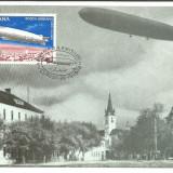 No2)ilustrata maxima-ZEPELINUL L.Z.127 SURVOLAND ORASUL SIBIU-prima zi, Romania de la 1950, An: 1978, Aviatie