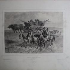 Caravana de tigani, Moldova, litografie originala semnata Auguste Raffet - Pictor roman