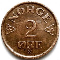 Norvegia, Haakon VII (1930-1957), 2 Ore 1957, ULTIMUL AN DE BATERE !!!, Europa, Cupru (arama)