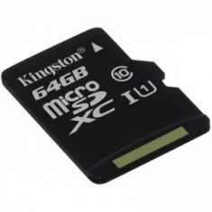 Kingston, 64GB, SDC10G2/64GB, Micro Secure Digital Card fara adaptor SD - Card memorie Kingston, Micro SD