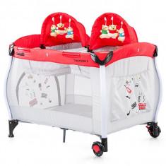 Patut Pliabil Chipolino Twin Stars Red - Patut pliant bebelusi, 115X85cm, Rosu