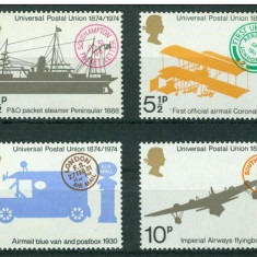 Anglia, mijloace de transport, UPU, 1974, MNH - Timbre straine, Transporturi, Nestampilat