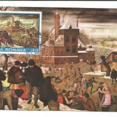 No(2)ilustrata maxima-PIETER BRUEGHEL cel TANAR-Iarna-prima zi, Romania de la 1950, An: 1982
