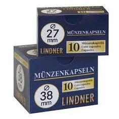 CUTIE CAPSULE  pentru  monede ( 10 buc )  LINDNER  Ǿ 45 mm