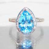 Inel aur 14k TOPAZ ALBASTRU 3.57ct si diamante accente - Inel diamant, 46 - 56
