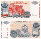 CROATIA 5.000.000 dinara 1993 KNIN UNC!!!