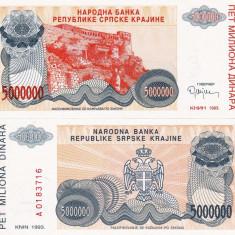 CROATIA 5.000.000 dinara 1993 KNIN UNC!!! - bancnota europa