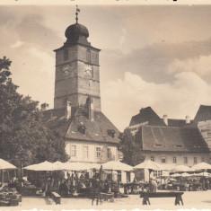SIBIU, TARG LA PIATA PRINTUL CAROL, FOTO ORIGINAL FISCHER, SIBIU 1938 - Carte Postala Transilvania dupa 1918, Necirculata, Fotografie