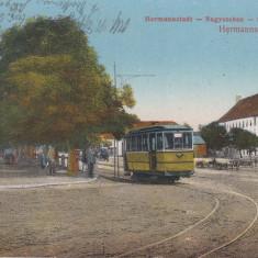 SIBIU, PIATA, TRAMVAI ELECTRIC, CIRCULATIE MILITARA GERMANA IUNIE 1917 - Carte Postala Transilvania 1904-1918, Circulata, Printata
