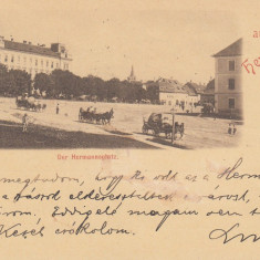 SIBIU, SALUTARI DIN SIBIU, PIATA, CIRCULATA APR.''98 - Carte Postala Transilvania pana la 1904, Printata