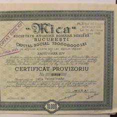PVM - Certificat Provizoriu 10000 lei MICA 1941 minerit, Romania 1900 - 1950