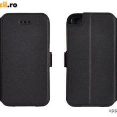 Husa Huawei Y3 Y360 Flip Case Inchidere Magnetica Black - Husa Telefon Huawei, Negru, Piele Ecologica, Cu clapeta, Toc